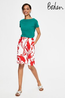 Boden Red Printed Cotton A-Line Skirt