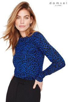 Damsel In A Dress Blue Annie Animal Print Knit Jumper