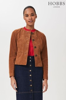 Hobbs Brown Mariette Suede Jacket