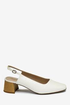 Туфли на блочном каблуке с ремешком через пятку
