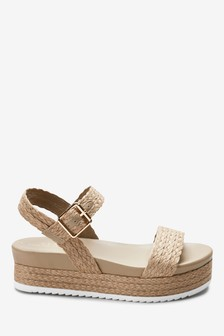 Raffia Footbed Sandals
