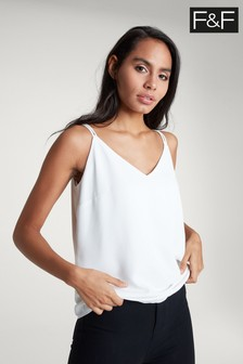 F&F Ivory Cross Back Cami
