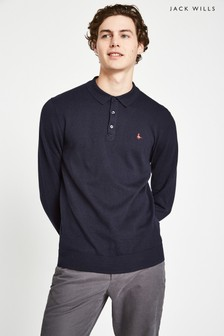 Jack Wills Blue Alfie Knitted Long Sleeve Polo