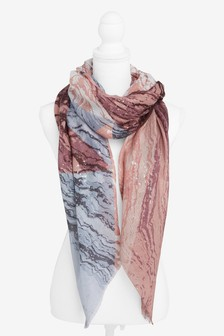 Marble Foil Print Lightweight Scarf
