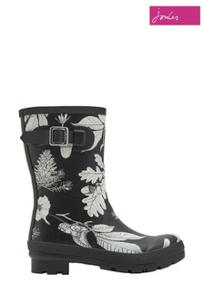 Joules Black Floral Molly Mid Height Welly