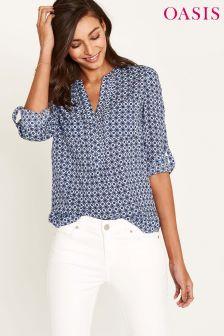 Oasis Blue Santorini Tile Print Shirt