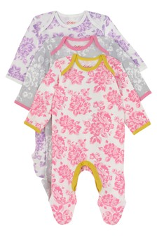Cath Kidston® Pink Mono Elvington Baby Three Pack Sleepsuits