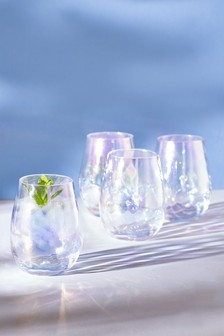 Komplet 4 połyskujących niskich szklanek Paris