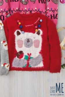 Girls Christmas Polar Bear Jumper (3-16yrs)