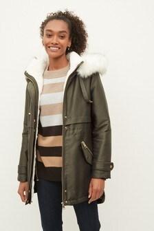 Faux Fur Hooded Parka Coat