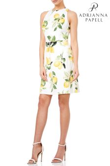 Adrianna Papell Yellow Fresh Lemons Printed Faille A-Line Dress