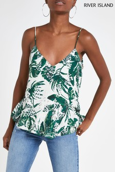 River Island Green Dream Print Sequin Cami