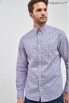 GANT Blue Col Broadcloth Gingham Regular Shirt