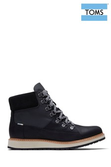 TOMS Black Lace Up Wedge Hiker Boots
