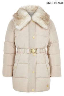 River Island Cream Long Line Belted Coat