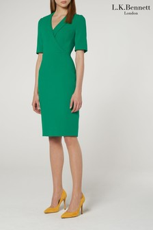 L.K.Bennett Green Effia V-Neck Fitted Dress