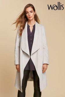 Wallis Grey Waterfall Stud Pocket Coat