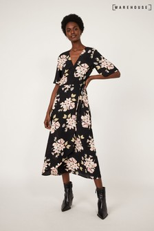 Warehouse Black Sia Floral Printed Midi Dress