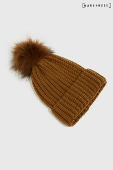 Warehouse Rust Fleck Yarn Rib Pom Hat