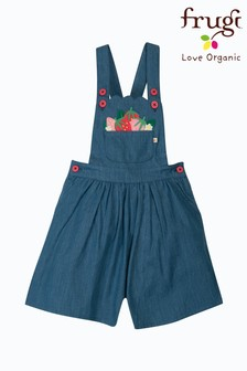Frugi Organic Chambray Culotte With Strawberry Embroidery