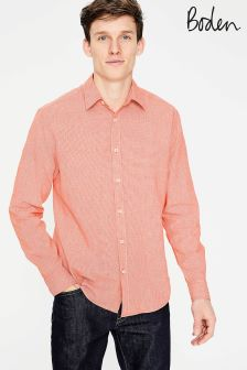 Boden Orange Linen Cotton Pattern Shirt