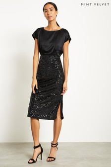Mint Velvet Black Sequin Velvet Dress