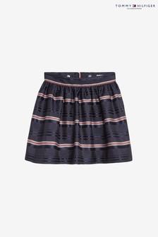 Tommy Hilfiger Blue Satin Stripe Skirt