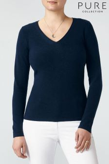 Pure Collection Pullover mit V-Ausschnitt