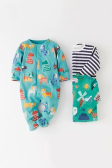 3 Pack Farm Animal And Dog Print Sleepsuits (0mths-2yrs)