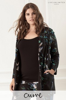 Live Unlimited Bird Print Shawl Collar Jacket