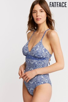 FatFace Blue Chambray Tile Triangle Swimsuit