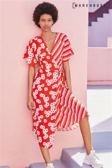 Robe portefeuille Warehouse Daisy rouge à rayures