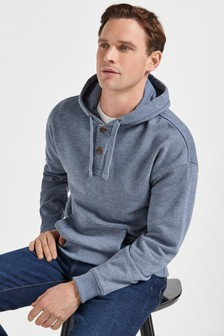 Button Neck Overhead Hoody