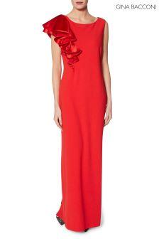 Gina Bacconi Red Soraya Frill Maxi Dress