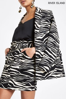 River Island Mono Zebra Mini Skirt