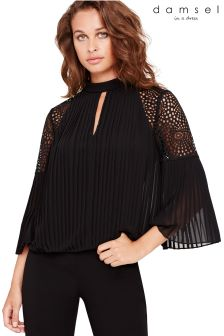 Damsel In A Dress Black Penn Pleat Blouse