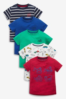 Short Sleeve Transport T-Shirts Five Pack (3mths-7yrs)