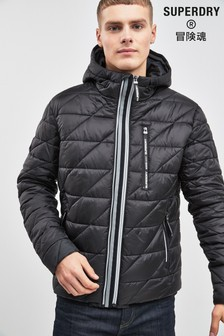 Superdry Black Quilted Fuji Coat