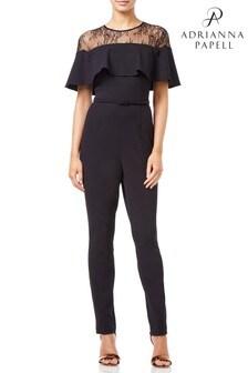 Adrianna Papell Black Illusion Neckline Jumpsuit