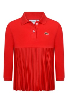 Girls Red Pleated Long Sleeved Polo Top