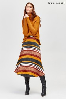 Warehouse Honey Stripe Pleat Midi Skirt