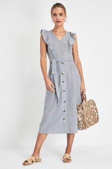 81f00ed2dd5 Stripe Frill Sleeve Button Dress