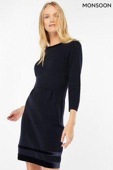 Monsoon Navy Estella Velvet Trim Smart Dress