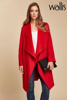 Wallis Red Waterfall Stud Pocket Coat