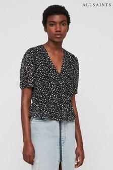 AllSaints Black Floral Print Wrap Ilia Blouse