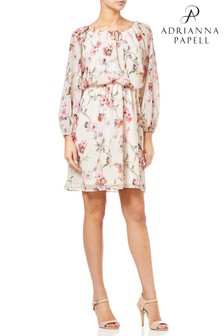 Adrianna Papell White Bonita Oasis Peasant Dress
