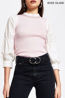 River Island Pink Light Poplin Embroidered Bubble Sleeve Top