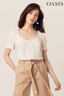Oasis Grey Pleated Shirred Top
