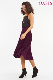 Oasis Purple Amber Pleat Skirt