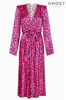 Ghost London Meryl Satin-Kleid mit Gepardenmuster, pink